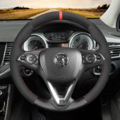 MEWANT Black Artificial Real Genuine Leather Suede Car Steering Wheel Cover for Opel Astra K Corsa E Crossland X Grandland X Insignia CT B Karl Zafira