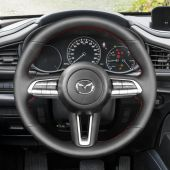 MEWANT Hand Stitch Carbon Fiber Suede Genuine Leather Car Steering Wheel Cover for Mazda CX-30 CX30 2019-2020 Mazda 3 Axela 2019-2020