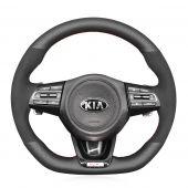 MEWANT Black Suede Leather Matte PU Carbon Fiber Car Steering Wheel Cover Braids for Kia Stinger 2017 2018 2019 2020