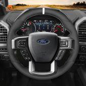 MEWANT Hand Stitch Black Suede Car Steering Wheel Cover forFordF-150Raptor2015-2020