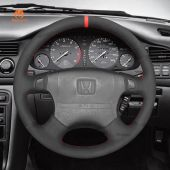 MEWANT Hand Stitch Black PU Leather Real Genuine Leather Car Steering Wheel Cover for HondaAccord1994-1997/Odyssey1995-1997/Prelude1994-1996