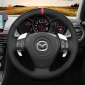 MEWANT Hand Stitch Black Suede Real Genuine Leather Car Steering Wheel Cover forMazdaRX-8RX82003-2008