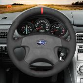 MEWANT Hand Stitch Black Suede Car Steering Wheel Cover for Subaru Impreza WRX 1999-2004