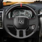 MEWANT Hand Stitch Carbon Fiber Black Suede Car Steering Wheel Cover for Dodge RAM 2009-2010