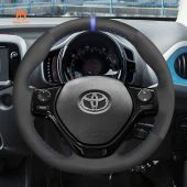 MEWANT Hand Stitch Black Suede Car Steering Wheel Cover for Toyota Aygo 2 Peugeot 108 Citreon C1