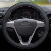 For Lada Vesta 2015-2017, Design Black Leather Suede Stitch Cover Steering Wheel Protector