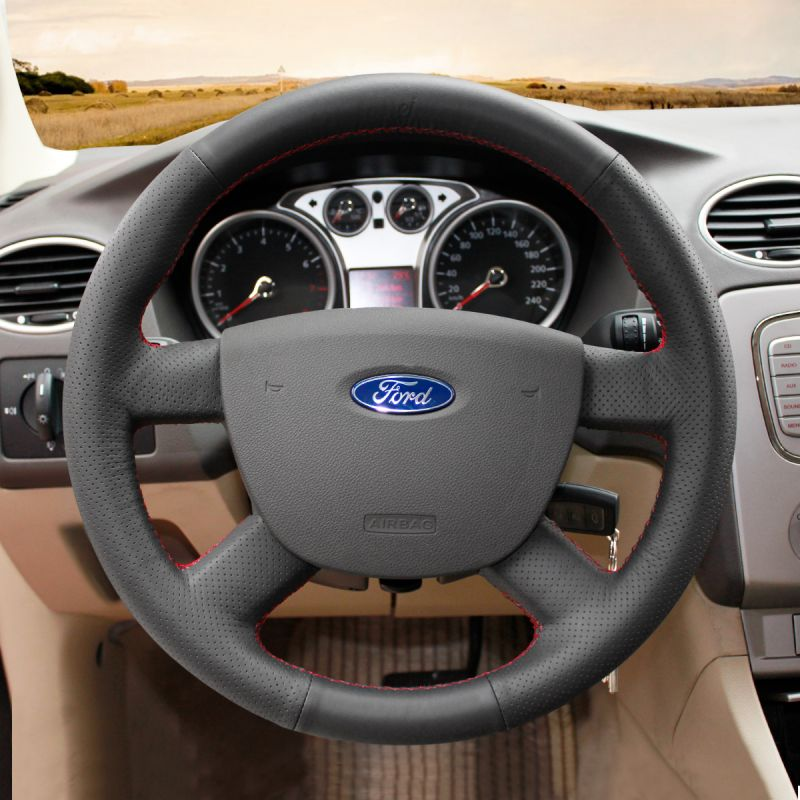 FOR FORD KUGA 2007-2012 BLACK LEATHER STEERING WHEEL COVER PURPLE DOUBLE STITCH