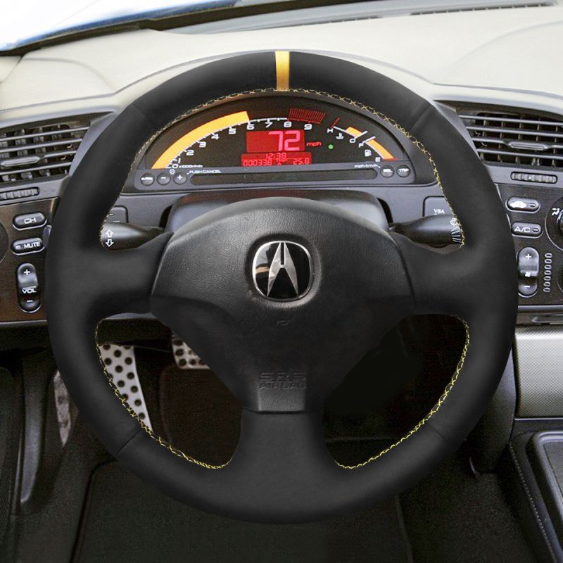 MEWANT Hand Sewing Black Artifical Leather Steering Wheel Cover Wrap for Honda S2000 2000-2008 Civic Si 2002-2004 Acura RSX Type-S 2005