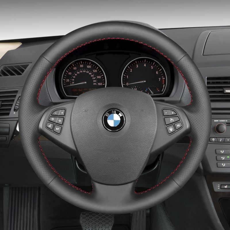 Suede Leather Steering Wheel Cover for BMW E83 X3 2003-2010 E53 X5 2004 #01144