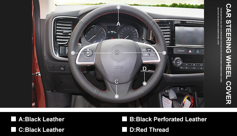 Black Leather Steering Wheel Cover for Mitsubishi Outlander Mirage ASX 2014